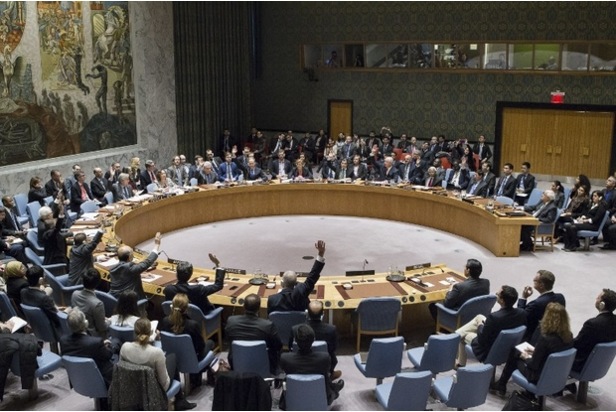 Members of the Security Council vote on 23 December on a resolution to stop Israeli settlements (AFP).
