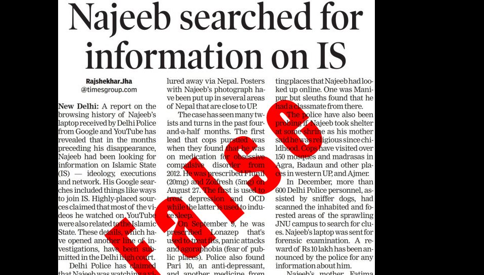 Apologize for False Najeeb Story