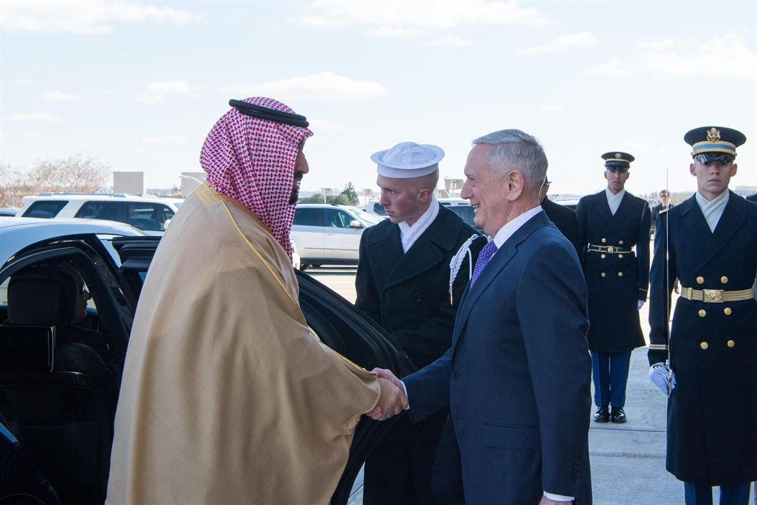 Defense Secretary Jim Mattis welcomes Saudi Deputy Crown Prince and Defense Minister Mohammed bin Salman to the Pentago.
