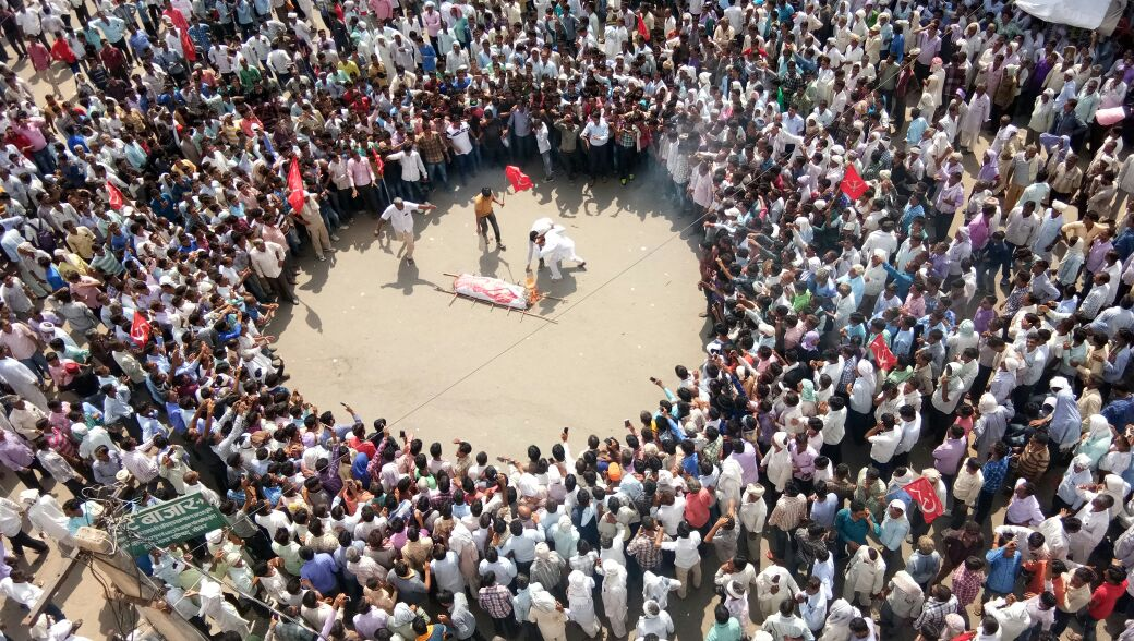 Kisan Sabha movement in Sikar - mock funeral of Vasundhara Raje government