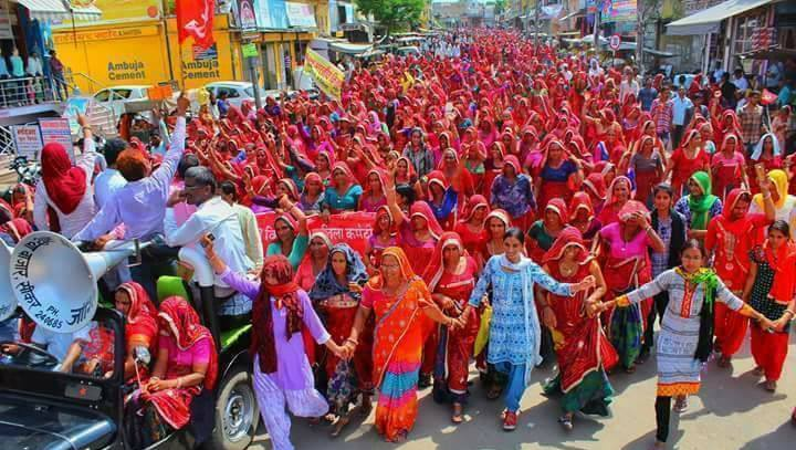 Women march in support of farmers movement by Kisan Sabha in Sikar, Rajasthan