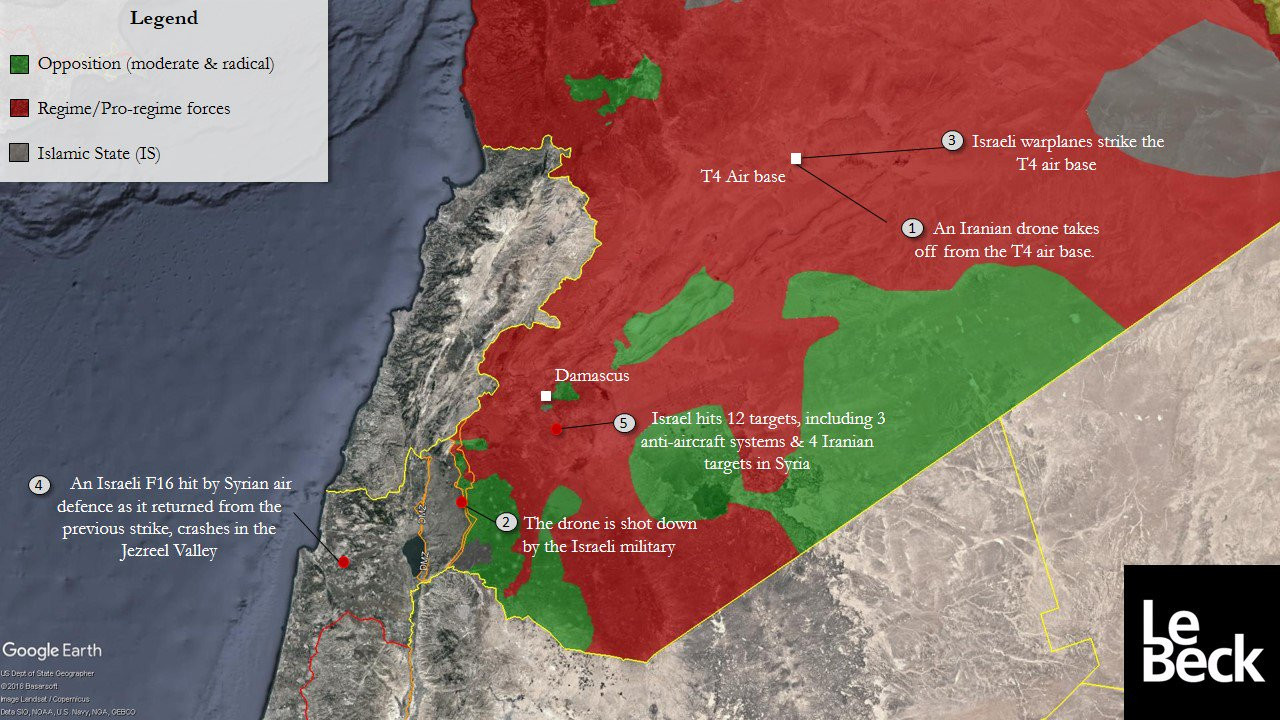 Israel tries to poke its nose in syria finds its f 16 shot down map syria gumiabroncs Images