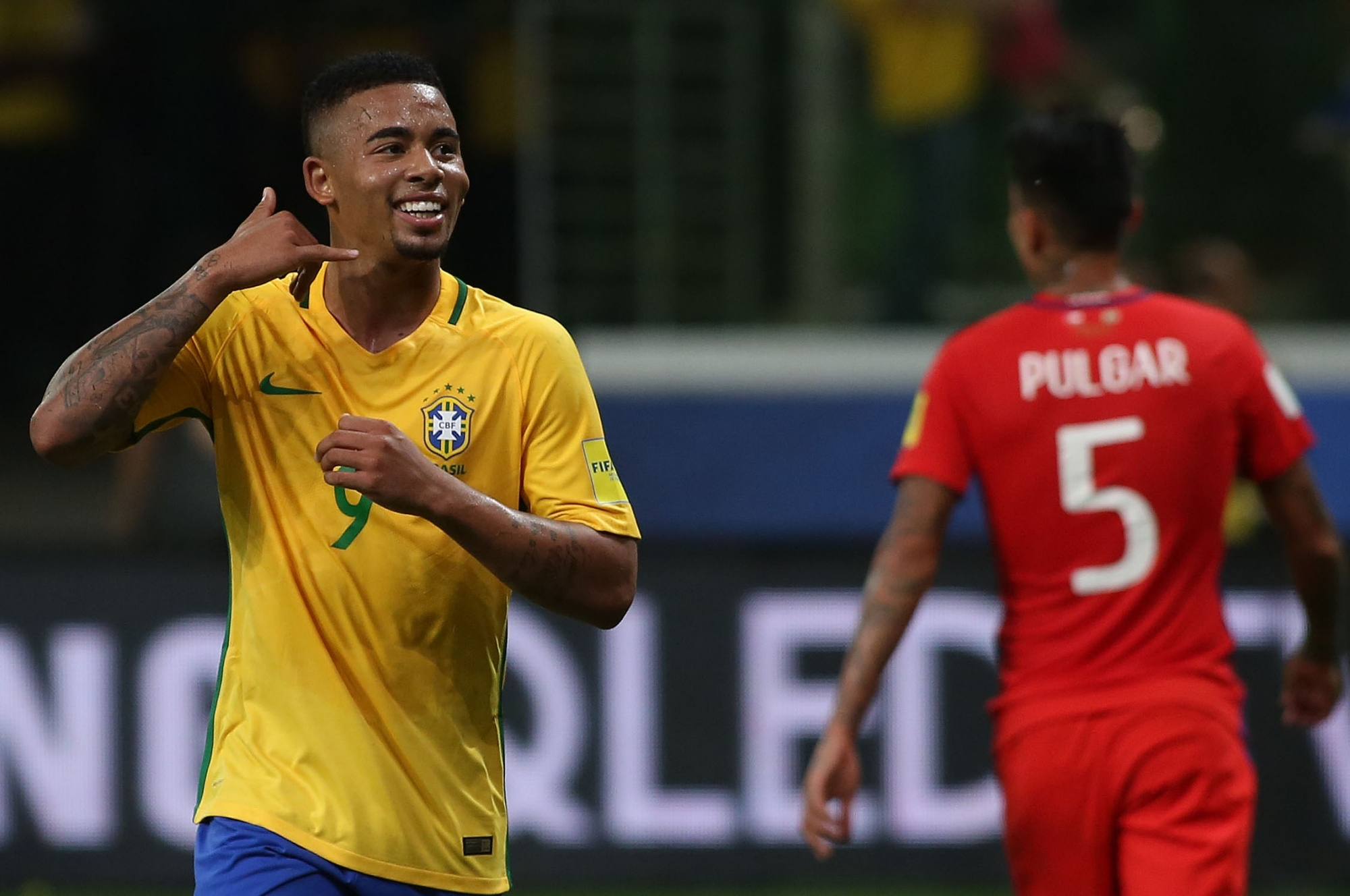 Brazil football team striker Gabriel Jesus during FIFA World Cup qualifiers