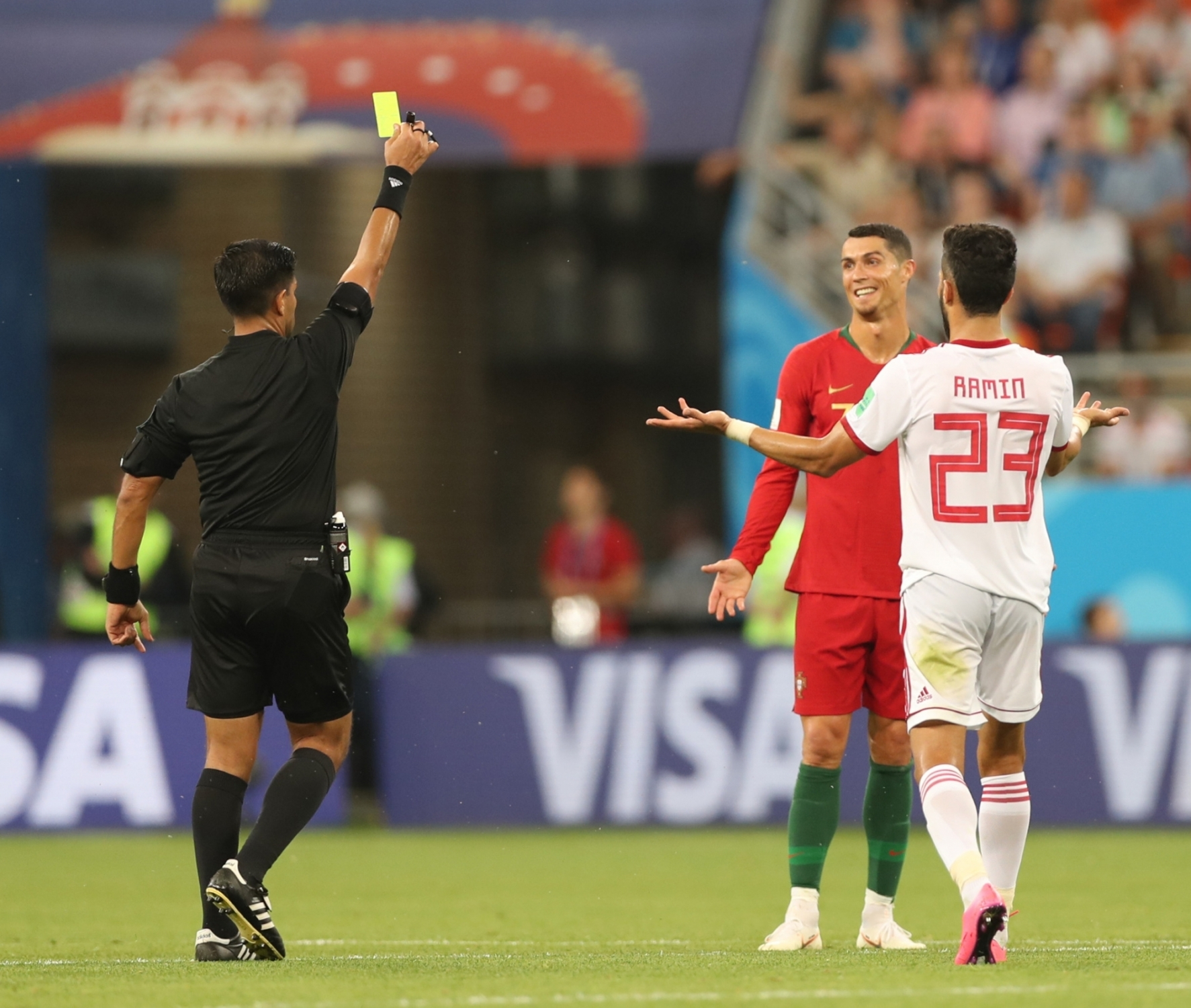 Portugal's Cristiano Ronaldo receives yellow card at FIFA World Cup
