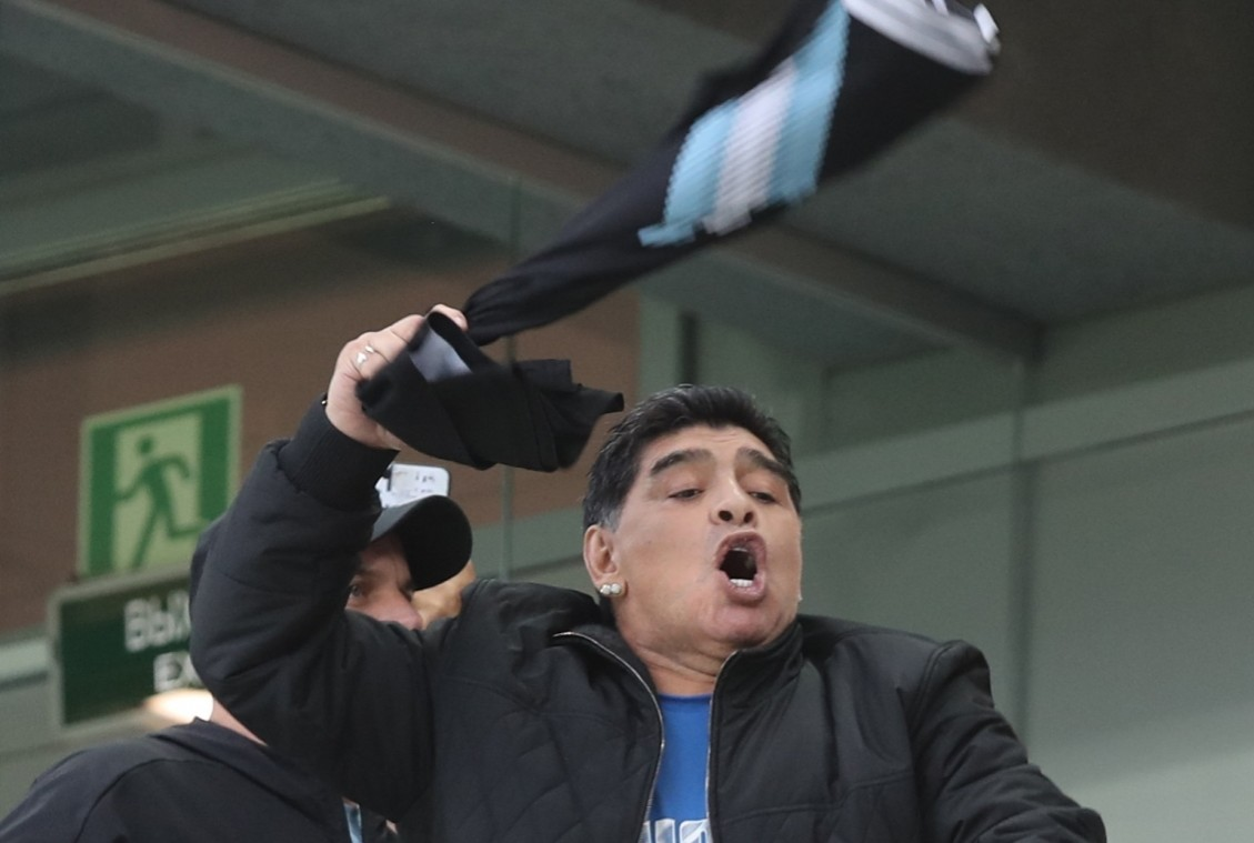 Diego Maradona during Argentina match at FIFA World Cup.