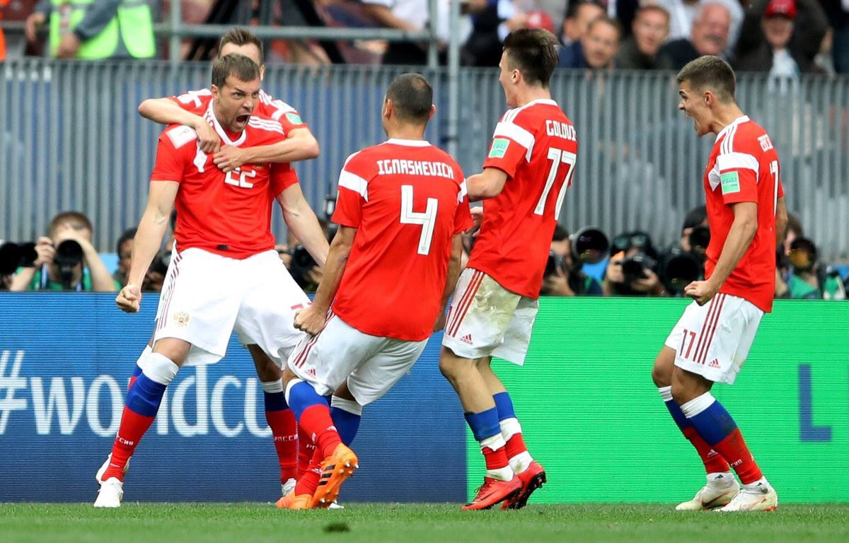 Russian players celebrate during FIFA World Cup match against Saudi Arabia.