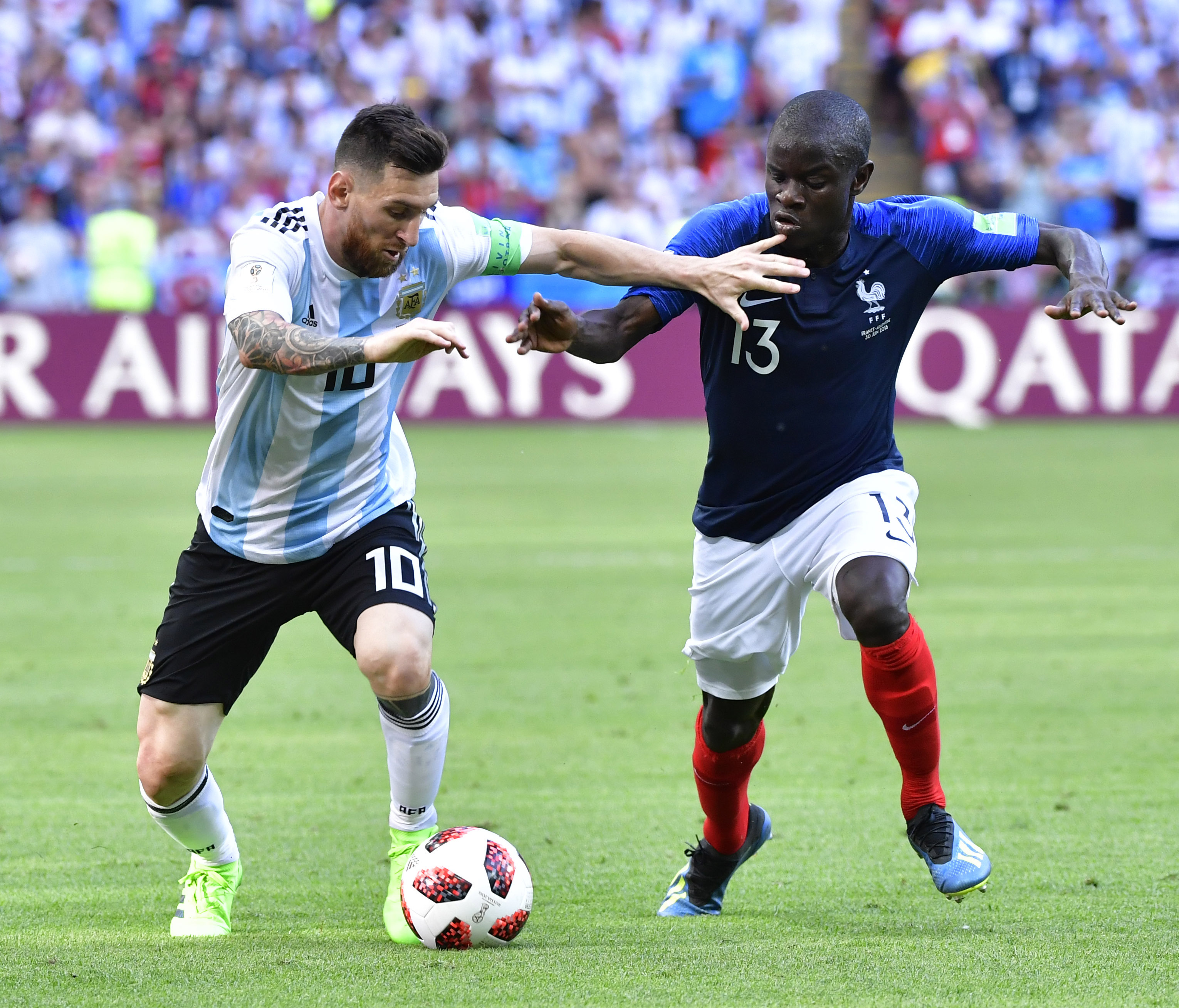 N'Golo Kante and Lionel Messi at FIFA World Cup.