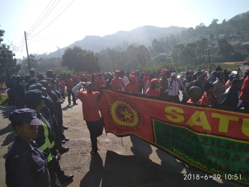 workers protest in swaziland demanding an end to corruption and anti