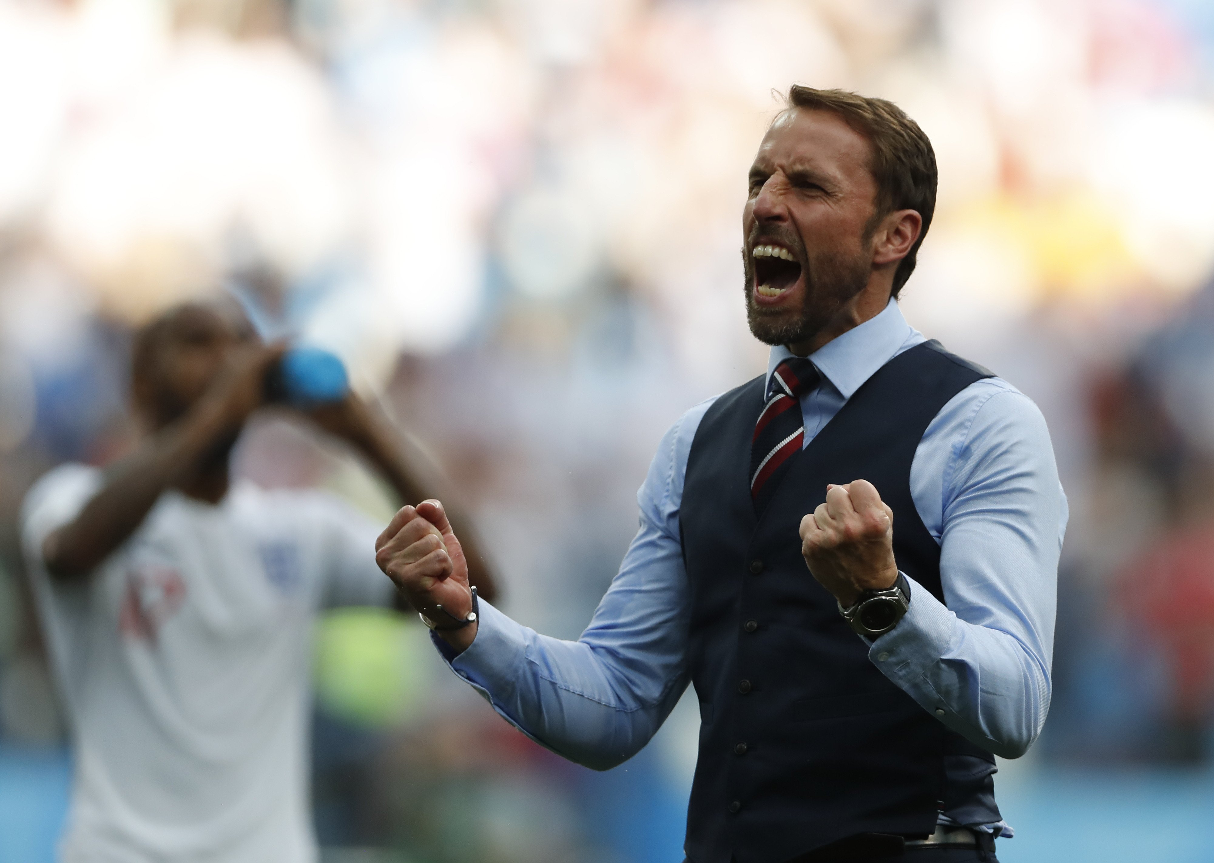 England football team coach Gareth Southgate at FIFA World Cup.