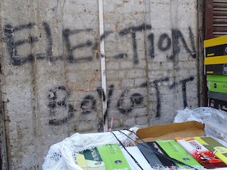 Boycott election graffiti from 2014 in Srinagar