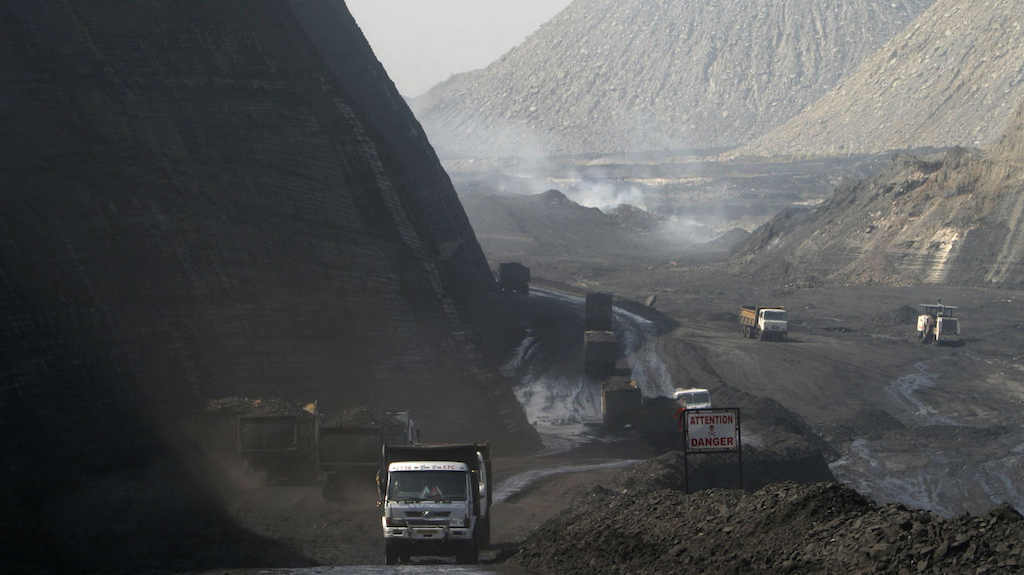 Coal laden trucks at a mine in Chhattisgarh