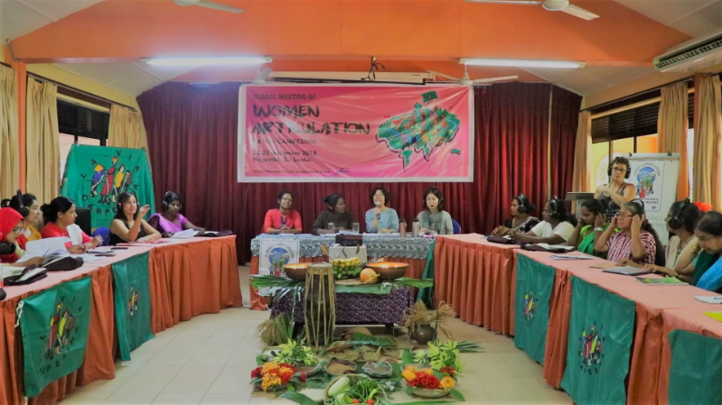 Global Meeting of Women Articulation, organized by La Vía Campesina, an international peasant movement began on November 22. (Photo: Vyshakh T/ Peoples Dispatch)