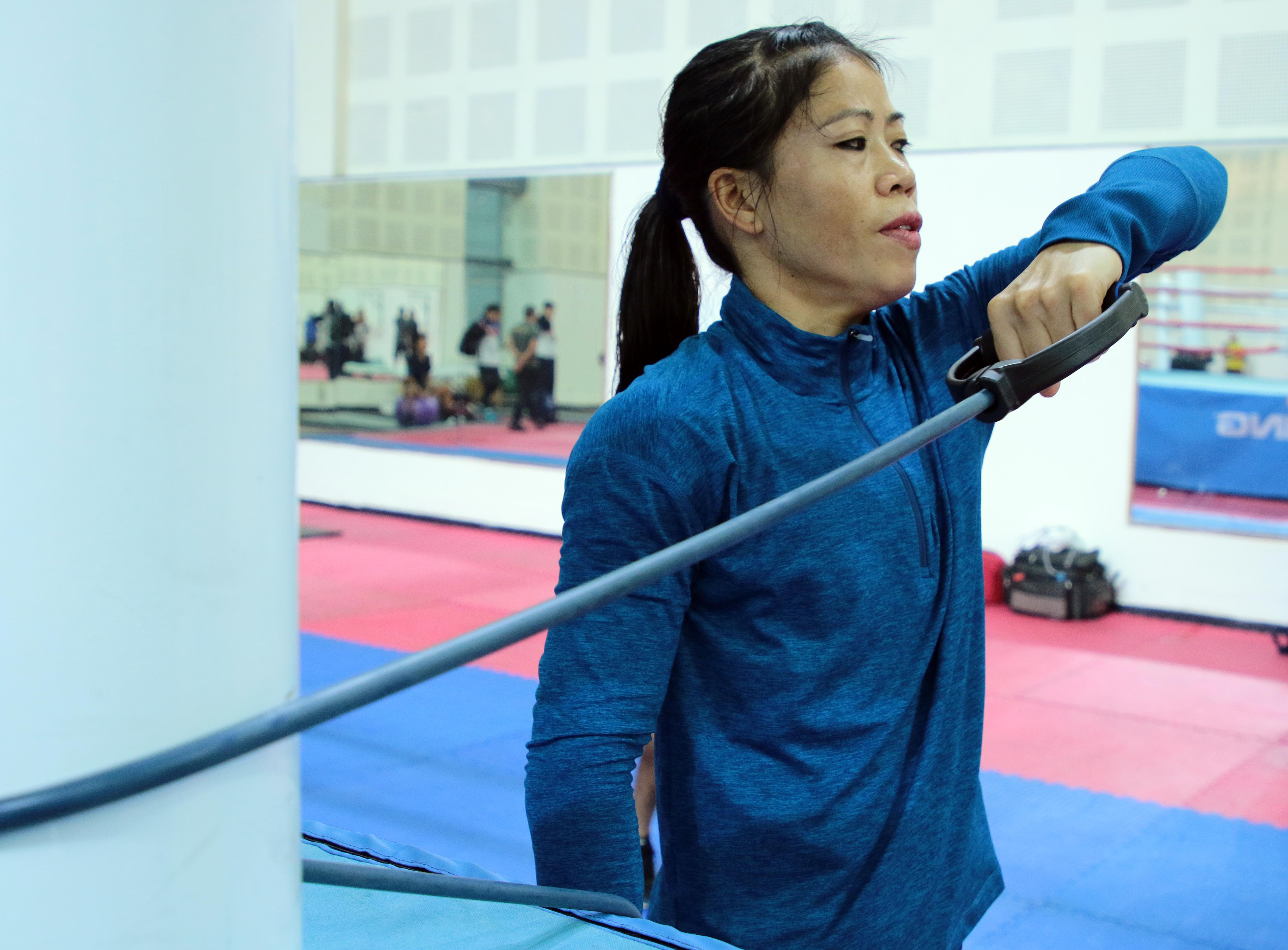 Indian boxer MC Mary Kom trains ahead of AIBA Women's World Championships in New Delhi