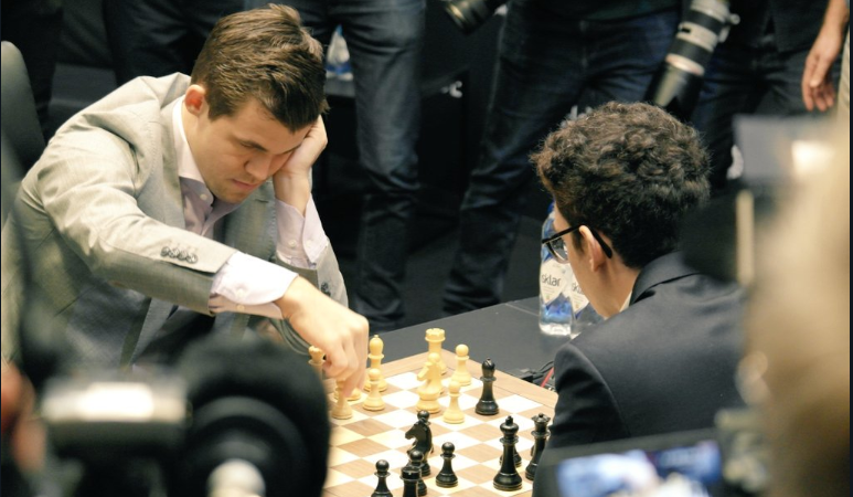 Magnus Carlsen vs Fabiano Caruana at the World Chess Championships
