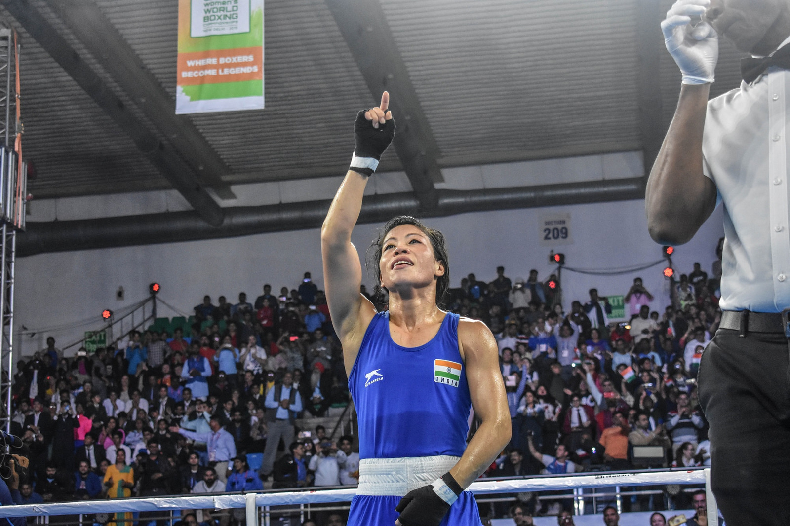 Mary Kom will take on Ukraine's Hannah Okhota in the final of the World Boxing Championships in New Delhi, looking to win an unprecedented sixth gold. (Pic: AIBA)