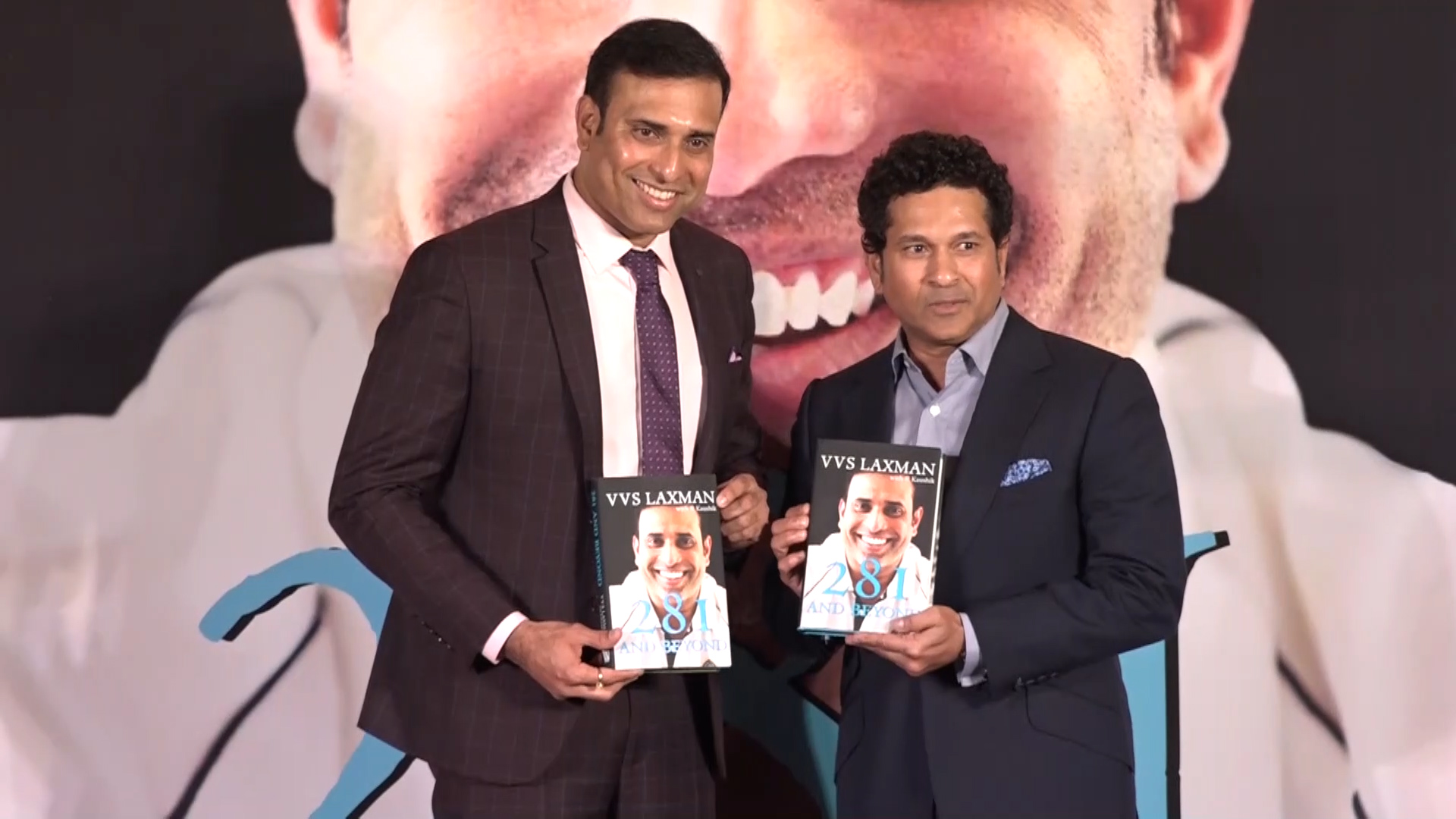 VVS Laxman and Sachin Tendulkar at the launch of 281 and Beyond