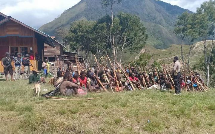 Indonesian security forces in a village of Papua's Highlands region as they pursue independence fighters in October