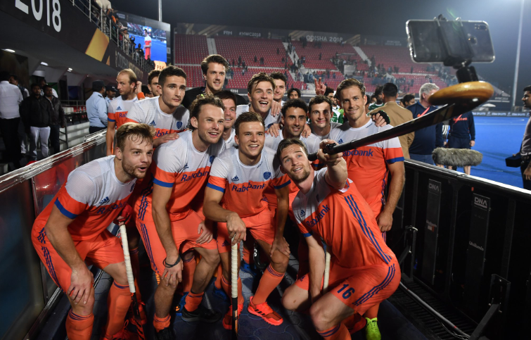 The Netherlands hockey team at the FIH Men's Hockey World Cup in Odisha