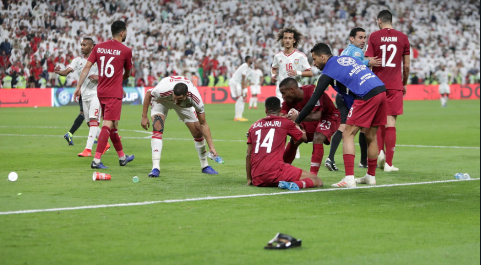 UAE spectators hurled bottles and footwear towards Qatar football team players during their AFC Asian Cup 2019 semifinal match