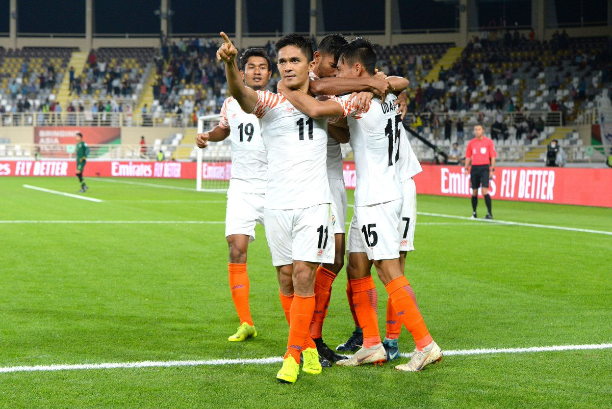 Sunil Chhetri of Indian football team celebrate his goal against Thailand in the AFC Asian Cup