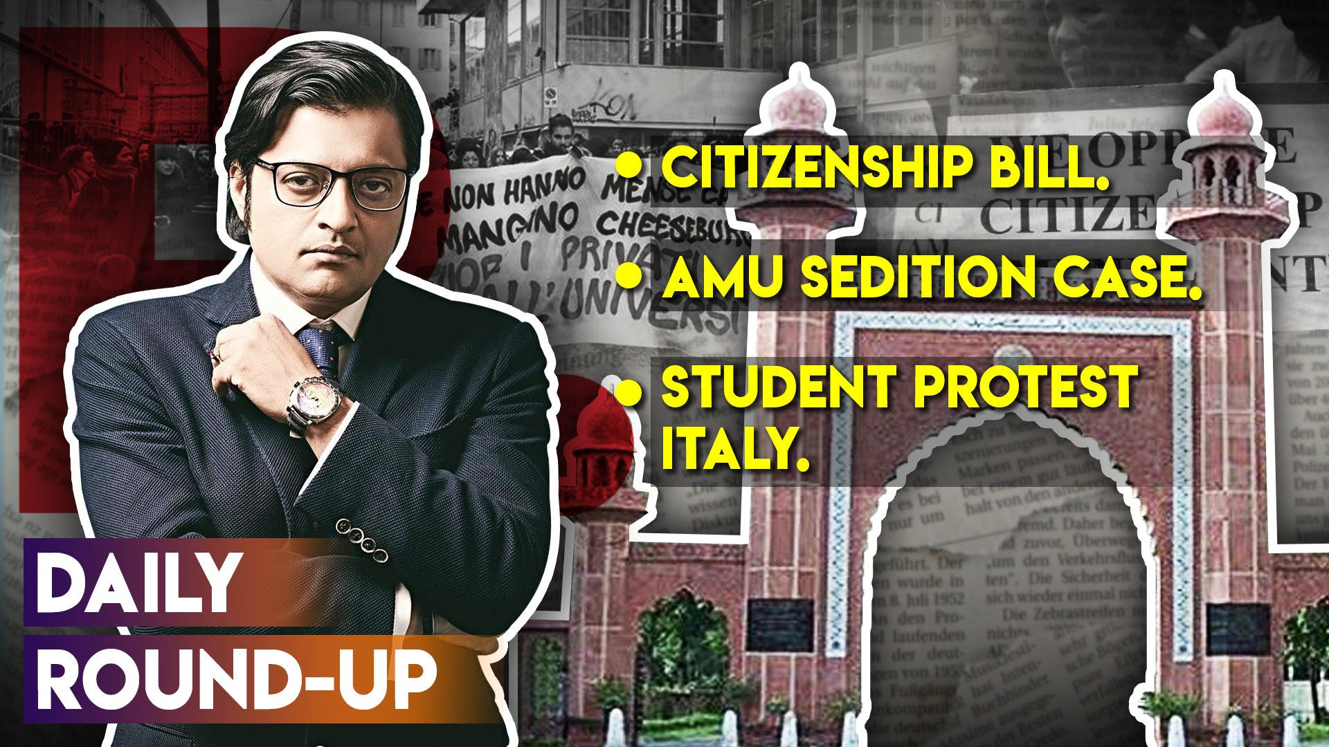 Daily Round-up Ep. 46 – Citizenship Amendment Bill Lapses in Rajya Sabha, Sedition Charges Against AMU Students, Students' Protest in Italy