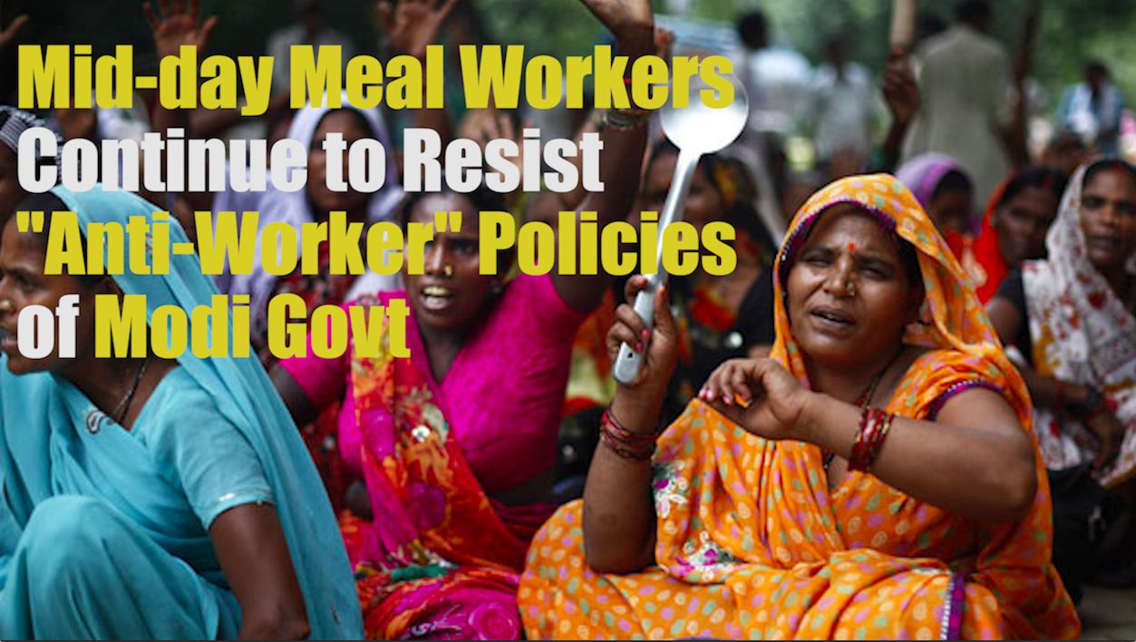 Mid day meal workers protest