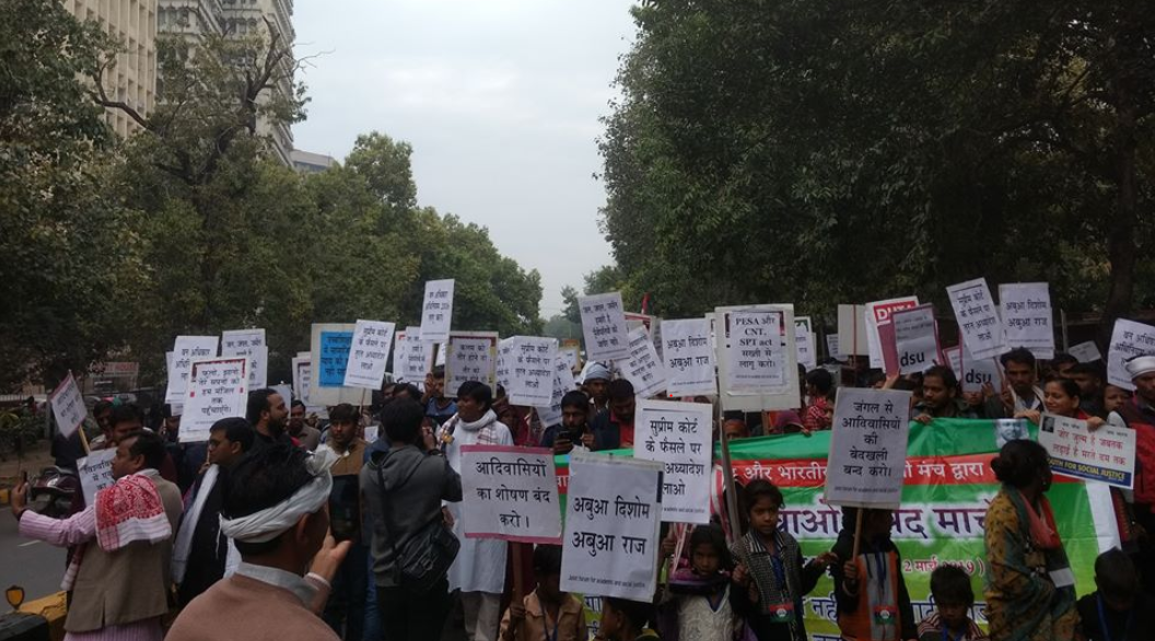 Thousands of Tribals March Down the streets of Delhi Demanding Withdrawal of Eviction Order