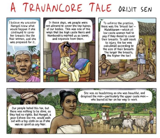 Orijit Sen's work, based on a village tale, of a woman named Nangeli, who is believed to have cut off her breasts in an effort to protest the caste-based mulakkaram.
