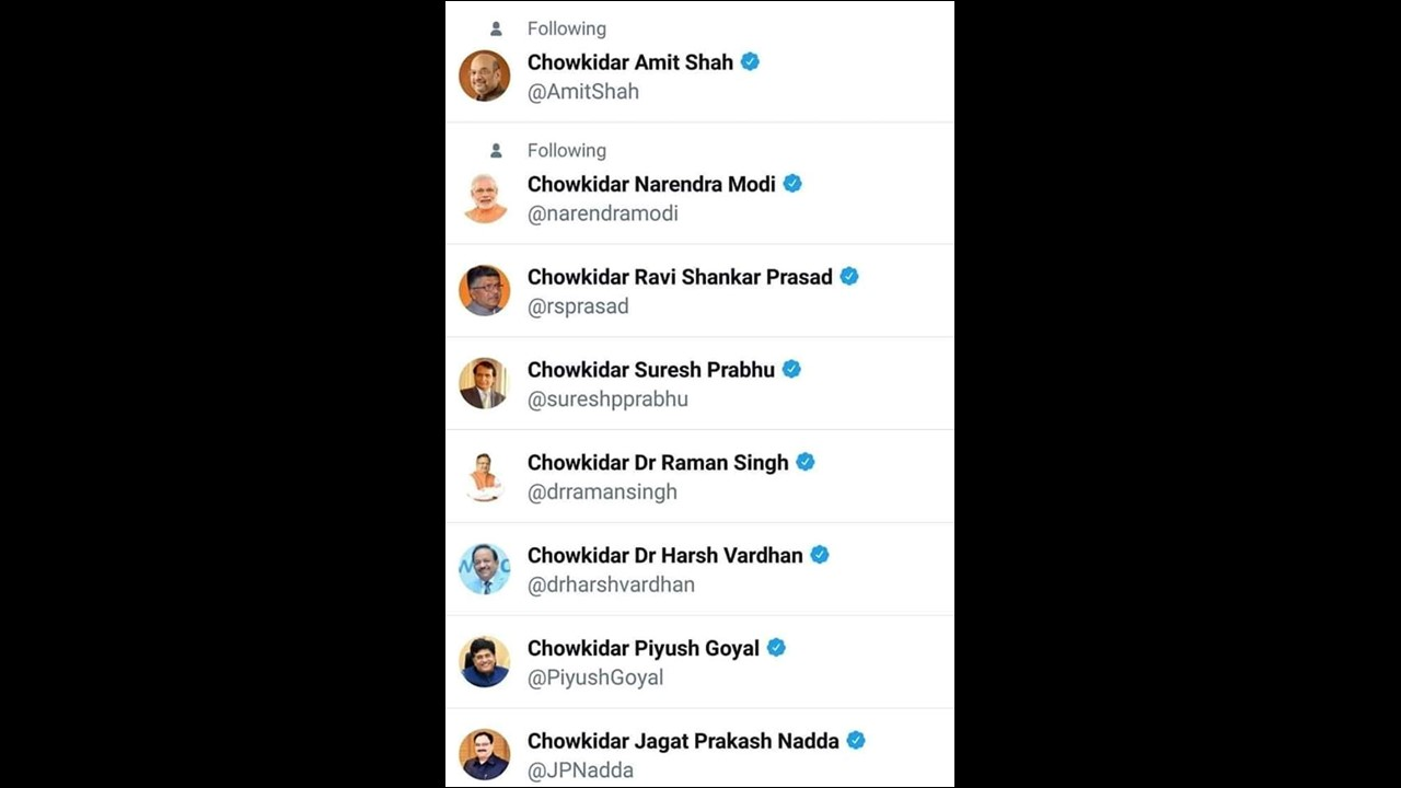 Several BJP leaders participated in the #MainBhiChowkidar campaign, sharing it on their Twitter.