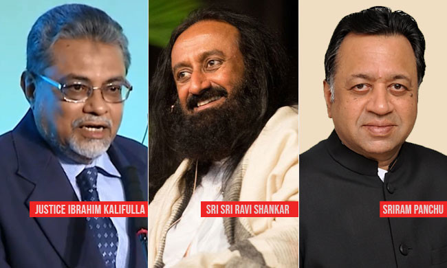 Meet the Mediators in Ayodhya-Babri Masjid Title Dispute Case, Sri Sri Ravi Shankar, former SC judge Justice F M Kalifullah and senior advocate Sriram Panchu.