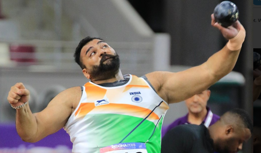 Tajinder Pal Singh Toor in the shot put final at the Asian Athletics Championships in Doha