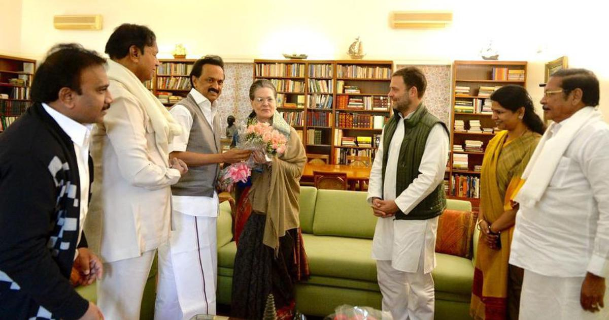 DMK leader MK Stalin with Congress chief Rahul Gandhi and his mother, United Progressive Alliance chairperson Sonia Gandhi