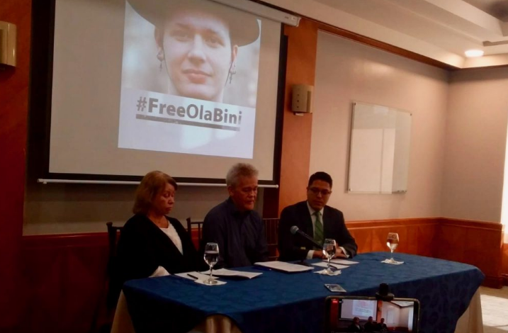 Parents and Lawyer of Ola Bini speak to the press on April 16, 2019 in Quito