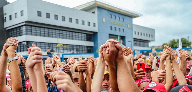 Thousands gathered outside the Federal Police headquarters in Curitiba, where Lula is being held for one year