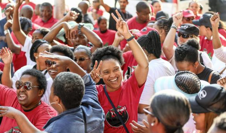 SARS workers celebrate after the end of the strike