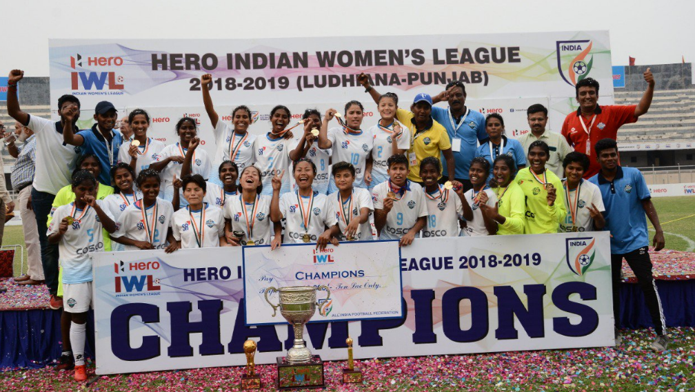 Sethu FC players with the 2019 Indian Women's League (IWL 2019) trophy