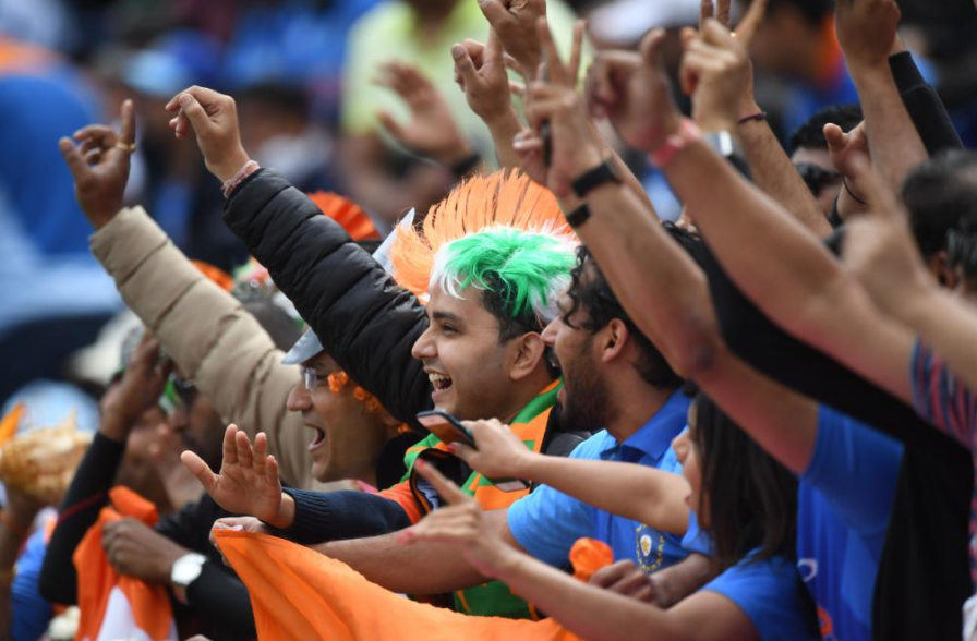 Indian cricket team fans at the 2019 ICC World Cup in England
