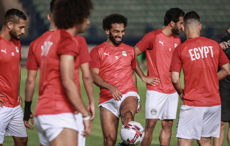 Mo Salah trains with Egypt football team teammates ahead of their Africa Cup of Nations (AFCON 2019) match against Zimbabwe.