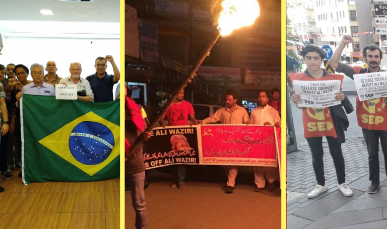 Protests in Brazil, Pakistan and Turkey calling for Ali Wazir's release.