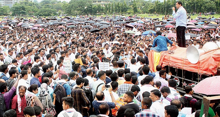 Thousands of Assam TET Teachers Protest