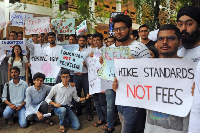 Students Protest Against 25% Fee Hike