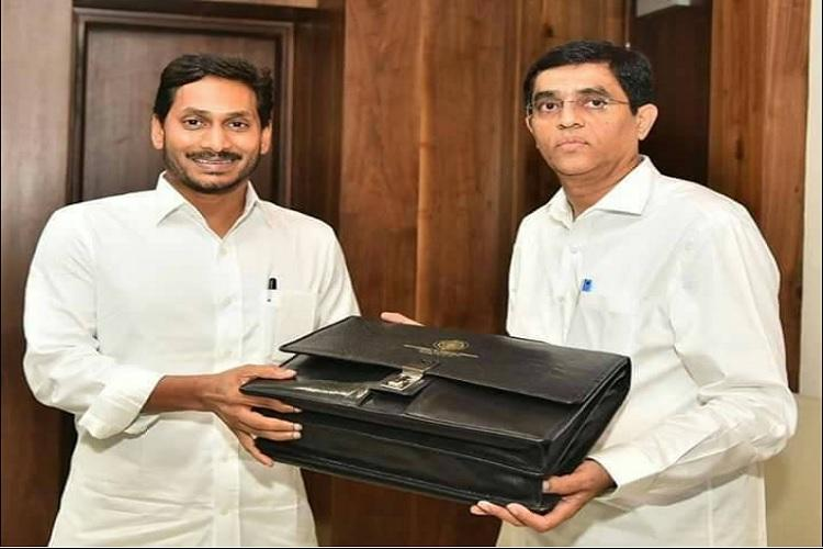 Finance Minister Buggana Rajendranath Reddy with Chief Minister Y.S. Jagan Mohan Reddy ahead of budget presentation.