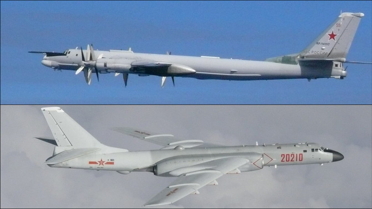 Russian Tu-95 MS (above) & Chinese Xian H-6 strategic bombers.