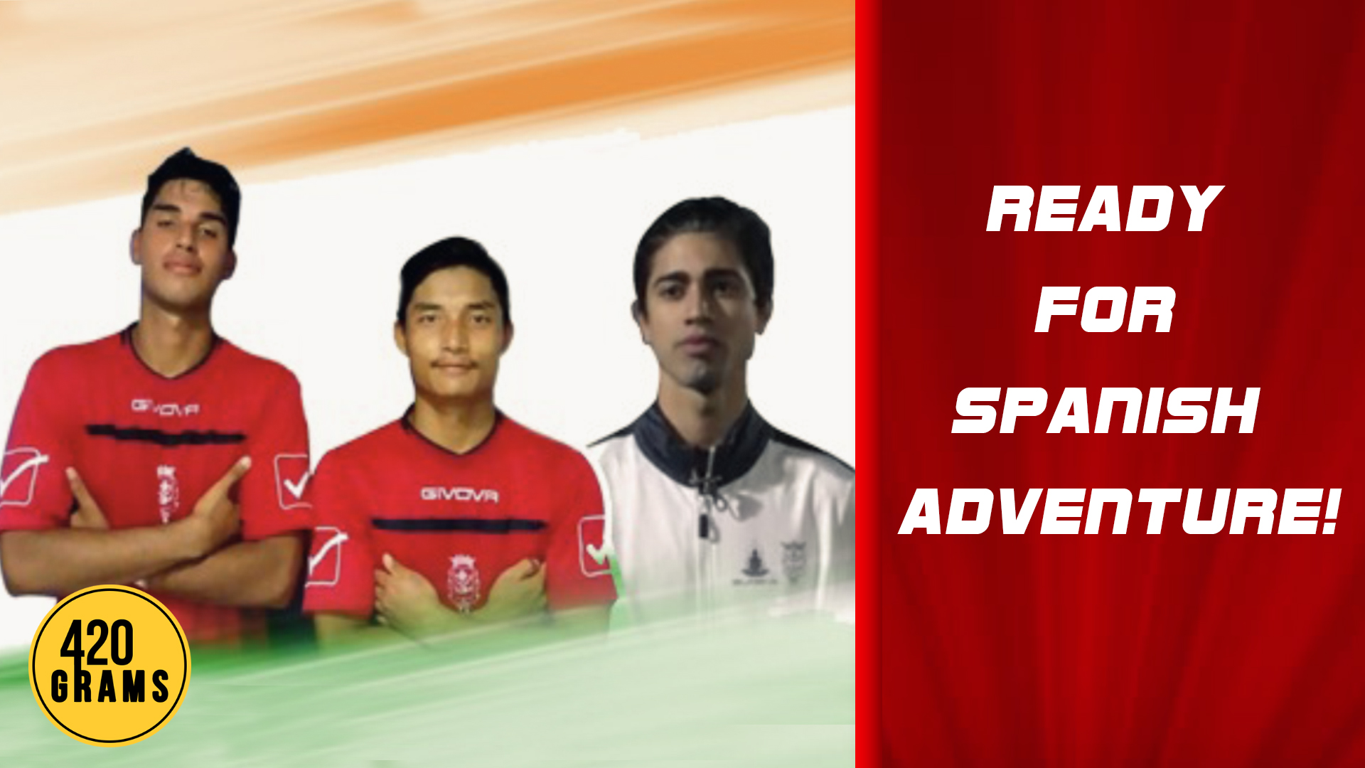 "Young Indian footballers Kabir Nath, Lunki Seigoulun Khongsai ""Gogou"" and Kabir Kohli, who have been signed by Spanish club CD Olimpic de Xativa"