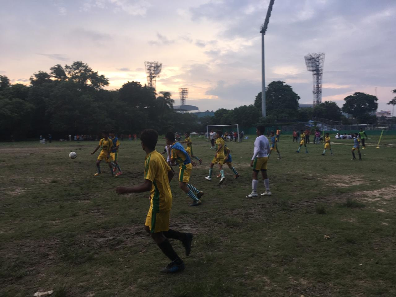 Kids training football in Kolkata