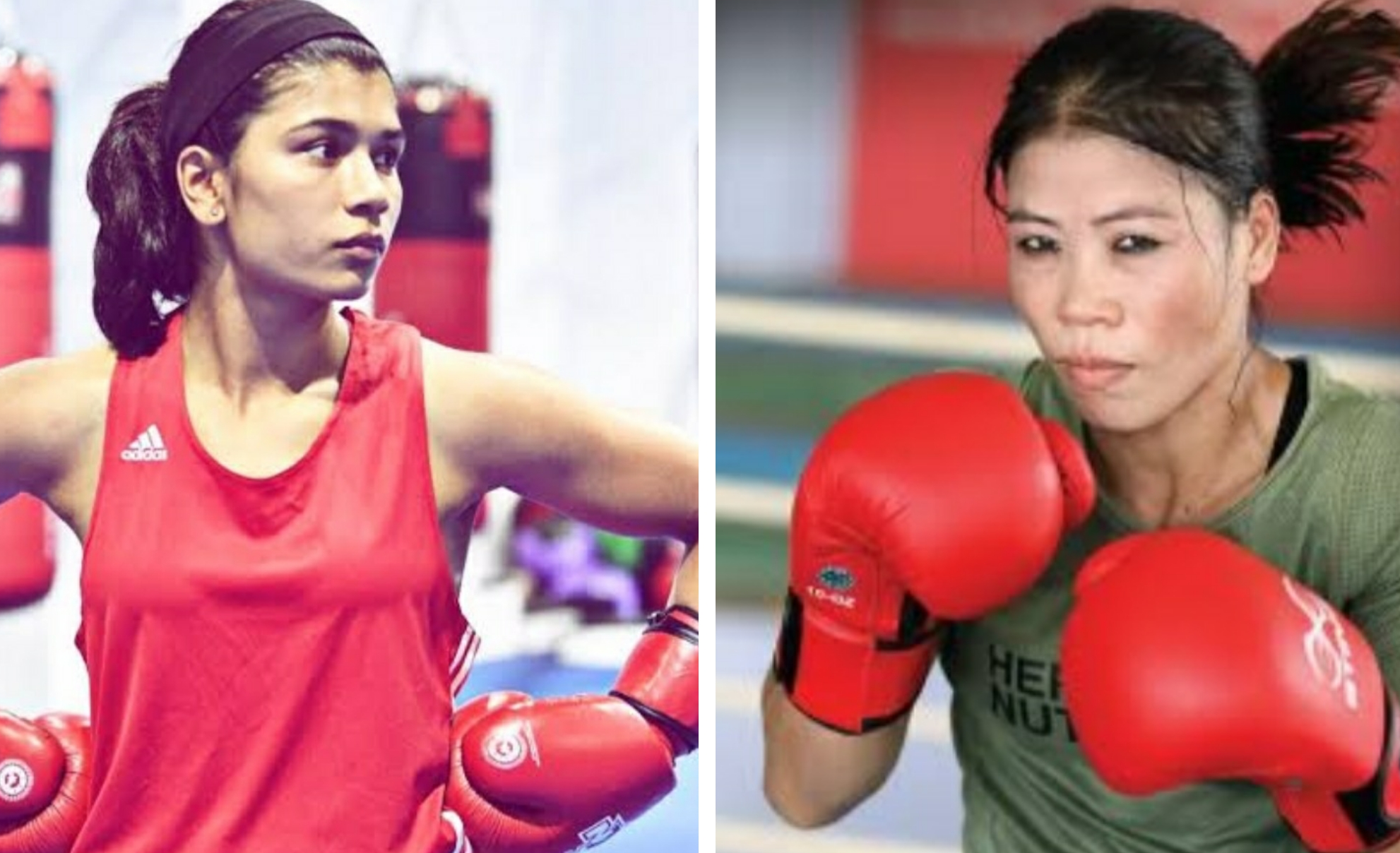 Indian boxers Nikhat Zareen and MC Mary Kom