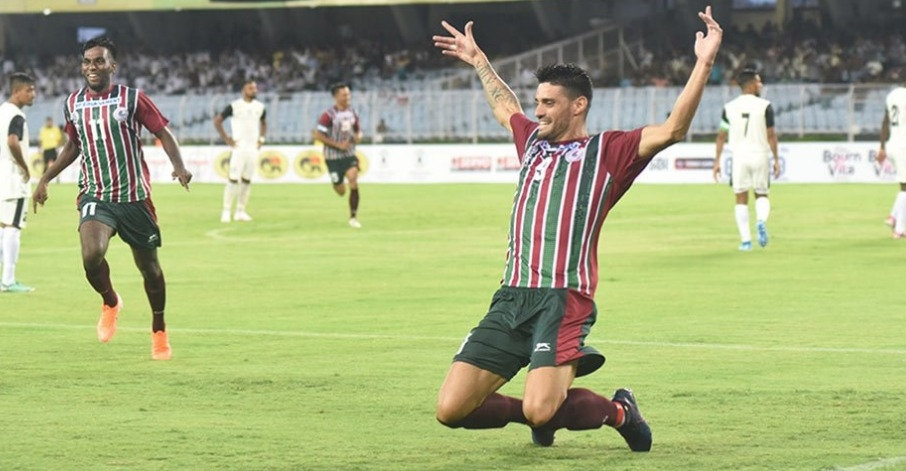 Salva Chamorro of Mohun Bagan celebrates after scoring against Mohammedan Sporting in their Durand Cup match.