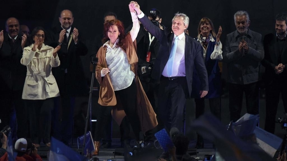 Cristina Fernández de Kirchner and Alberto Fernández celebrate their victory in the primary elections in Argentina.