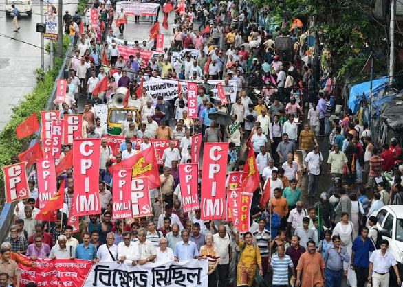 Left unity hold protest rally in Kolkata on Wednesday against the abolition of Article 370 and bifurcation of Jammu and Kashmir  94