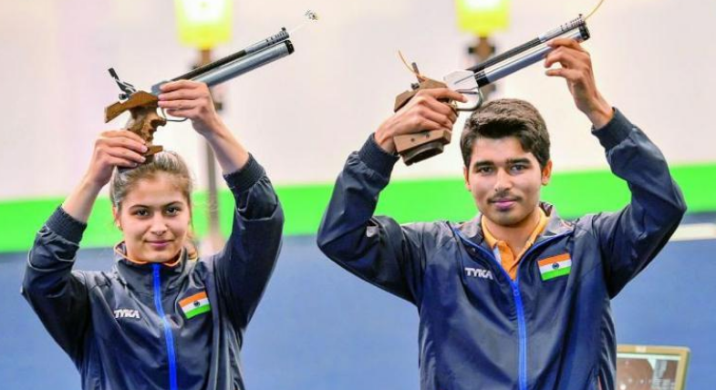 Indian shooters Manu Bhaker and Saurabh Chaudhary at ISSF World Cup shooting in Rio